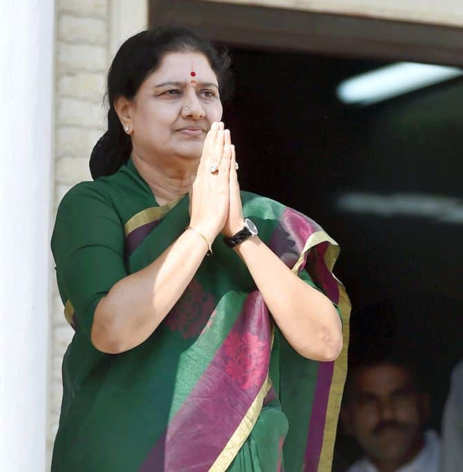 V K Sasikala leaves after attending the party's MLA's meeting