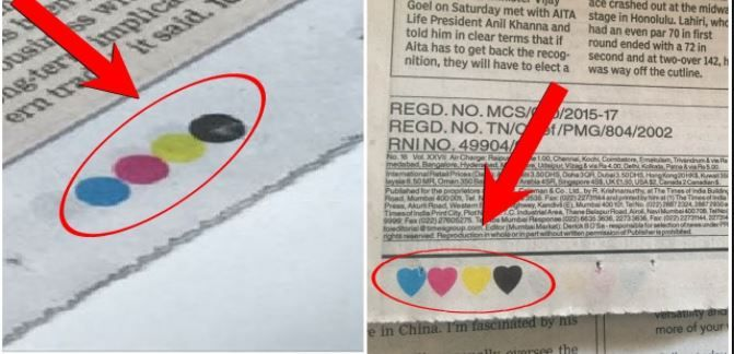 What is the meaning of four colour dots in the Newspaper