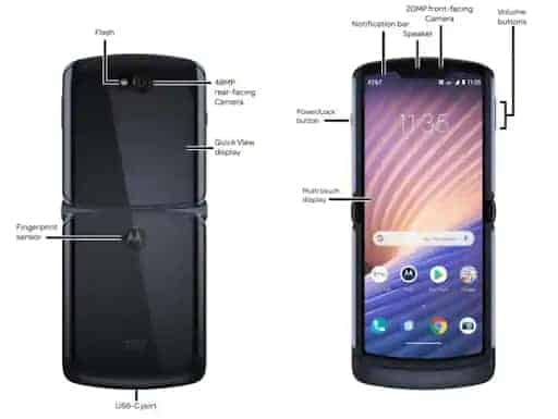 Moto Razr 2020 diagram leaks, shows a new spot for the fingerprint sensor