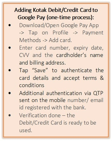 Kotak Bank is rolling out the facility for its customers of adding their Kotak Debit or credit card to Google Pay through which payments can be done.
