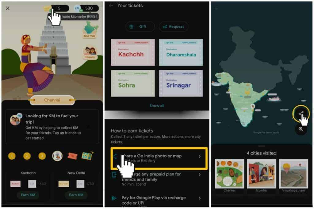How To Share KM In Google Pay Go India Game