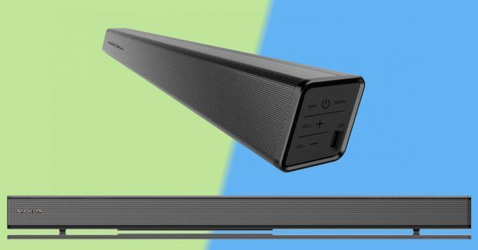 Snokor A10 Soundbar is built with a 2.5 inch LED display that can be remotely controlled.