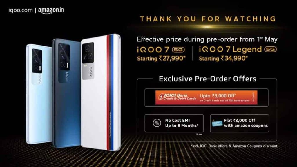 iQoo announces pre-order offers on the iQoo 7 series
