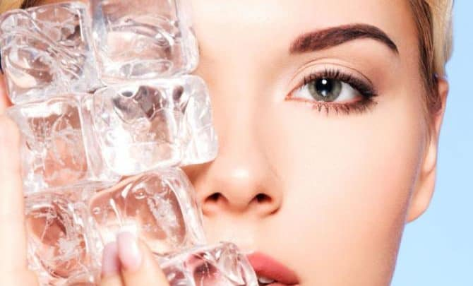 ice cube remedy for face pimples and acne