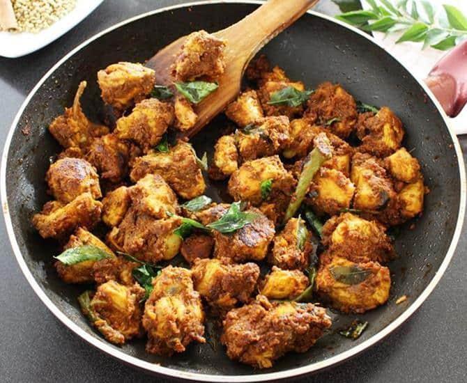 seeram malli chicken perattal dish making